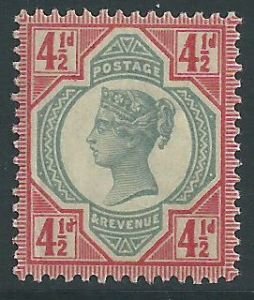 SG206 4½d Green & Carmine 1887 Jubilee Issue MOUNTED Mint (Queen Victoria Surface Printed Stamps)